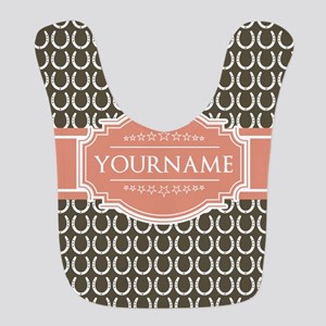 Brown Horseshoe Coral Custom Name Bib